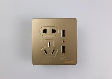 二、三极带两位USB插座